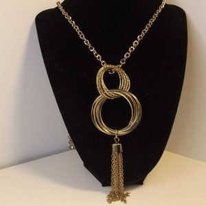 Gold Hoops Pendant Necklace